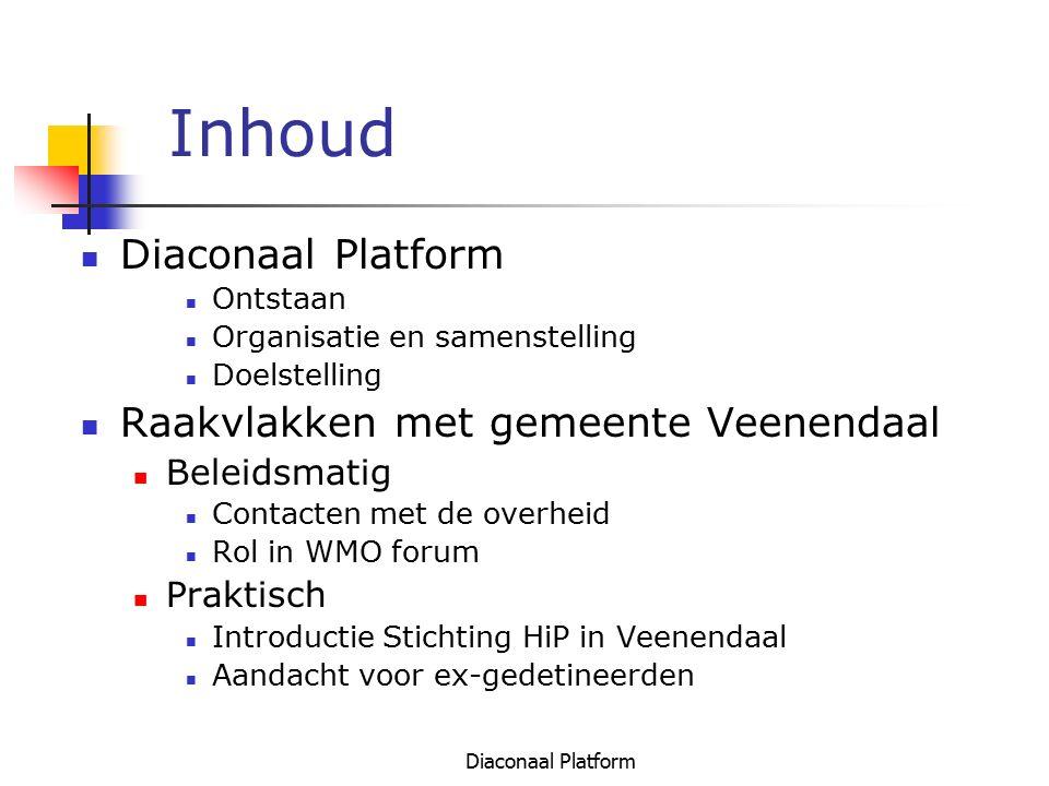 Diaconaal Platform Inhoud Diaconaal Platform Ontstaan Organisatie en samenstelling Doelstelling Raakvlakken met gemeente Veenendaal Beleidsmatig Conta