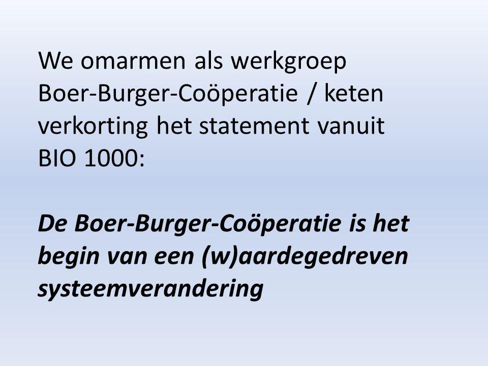 We omarmen als werkgroep Boer-Burger-Coöperatie / keten verkorting het statement vanuit BIO 1000: De Boer-Burger-Coöperatie is het begin van een (w)aardegedreven systeemverandering