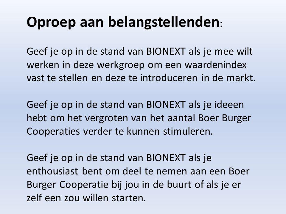 Oproep aan belangstellenden : Geef je op in de stand van BIONEXT als je mee wilt werken in deze werkgroep om een waardenindex vast te stellen en deze te introduceren in de markt.