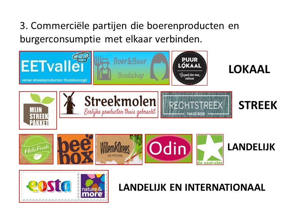 3. Commerciële partijen die boerenproducten en burgerconsumptie met elkaar verbinden.