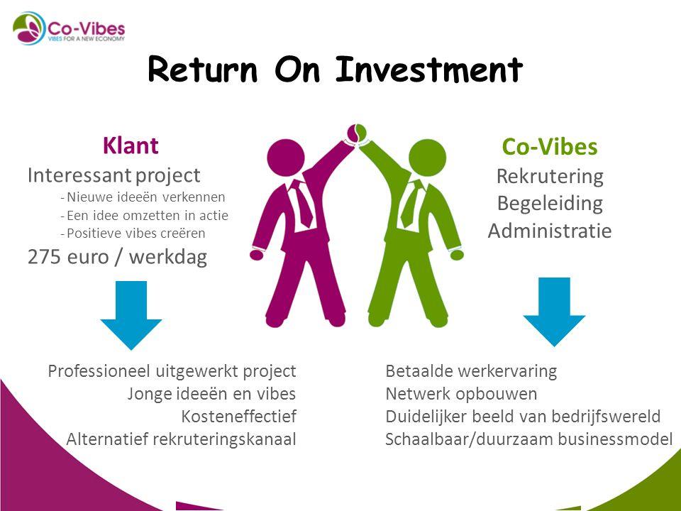 Klant Interessant project -Nieuwe ideeën verkennen -Een idee omzetten in actie -Positieve vibes creëren 275 euro / werkdag Co-Vibes Rekrutering Begele