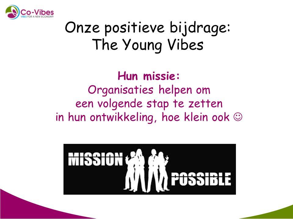 Onze positieve bijdrage: The Young Vibes Hun missie: Organisaties helpen om een volgende stap te zetten in hun ontwikkeling, hoe klein ook