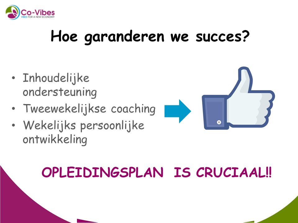 Inhoudelijke ondersteuning Tweewekelijkse coaching Wekelijks persoonlijke ontwikkeling Hoe garanderen we succes? OPLEIDINGSPLAN IS CRUCIAAL!!