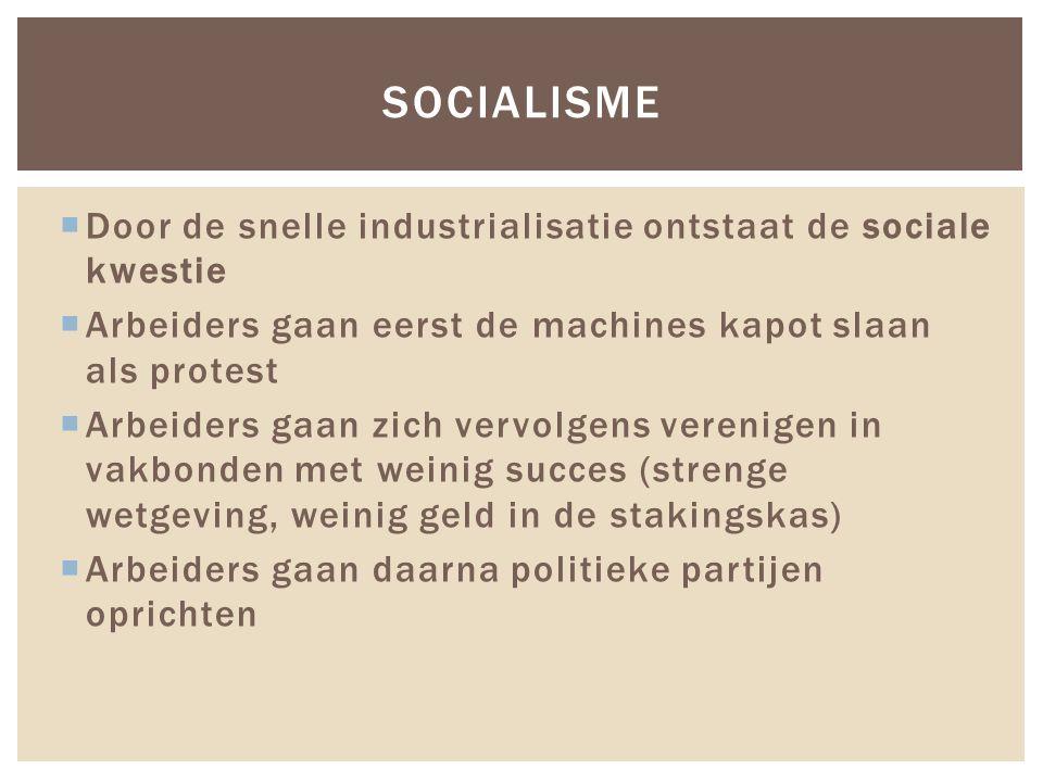  Door de snelle industrialisatie ontstaat de sociale kwestie  Arbeiders gaan eerst de machines kapot slaan als protest  Arbeiders gaan zich vervolg