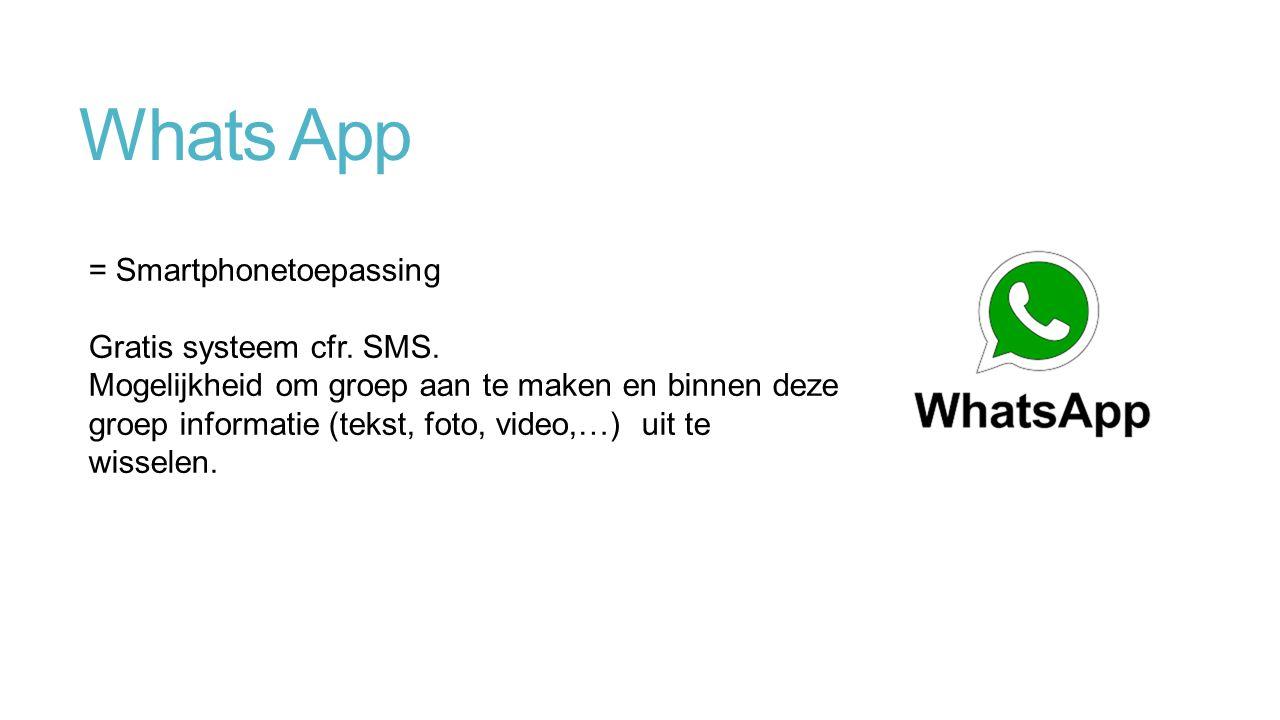Whats App = Smartphonetoepassing Gratis systeem cfr.