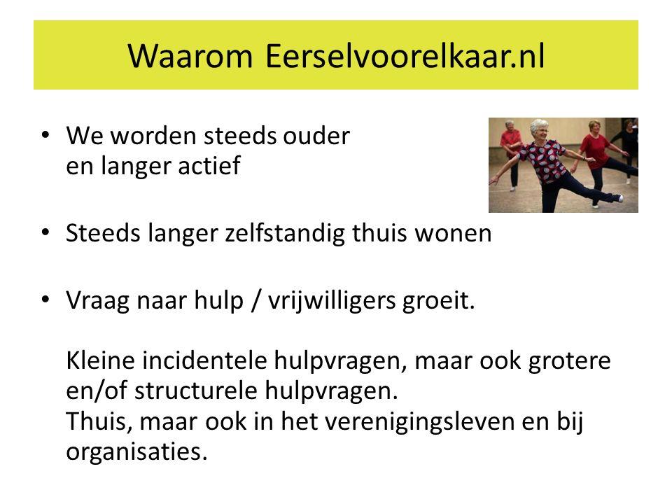 Waarom Eerselvoorelkaar.nl We worden steeds ouder en langer actief Steeds langer zelfstandig thuis wonen Vraag naar hulp / vrijwilligers groeit.