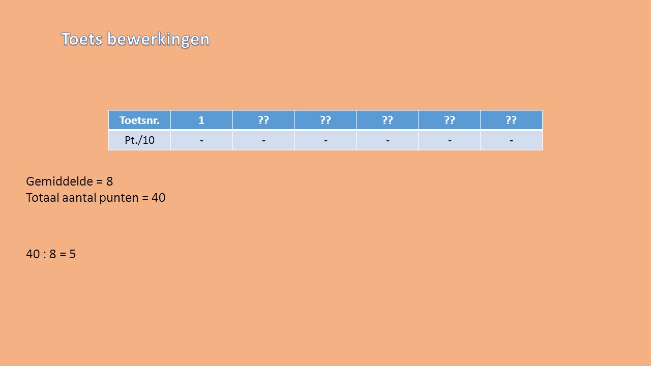 Toetsnr.1 Pt./10------ Gemiddelde = 8 Totaal aantal punten = 40 40 : 8 = 5