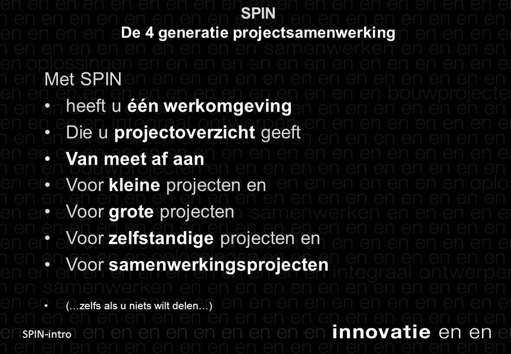 SPIN-intro SPIN De 4 generatie projectsamenwerking Met SPIN heeft u één werkomgeving Die u projectoverzicht geeft Van meet af aan Voor kleine projecten en Voor grote projecten Voor zelfstandige projecten en Voor samenwerkingsprojecten (…zelfs als u niets wilt delen…) 15