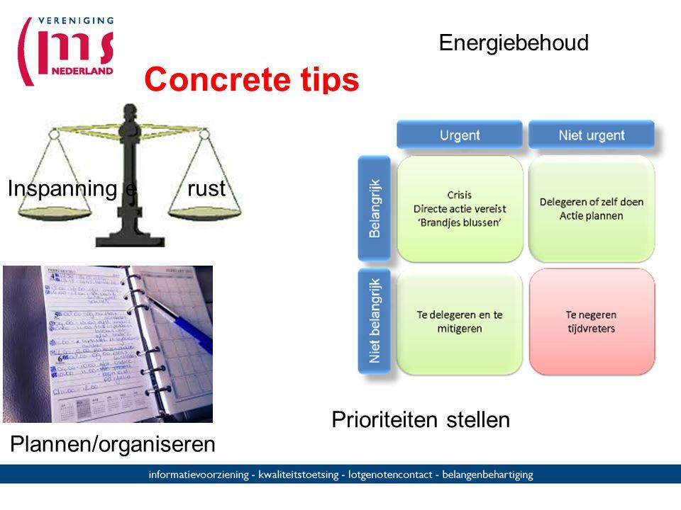 Concrete tips Plannen/organiseren Inspanning e rust Prioriteiten stellen Energiebehoud