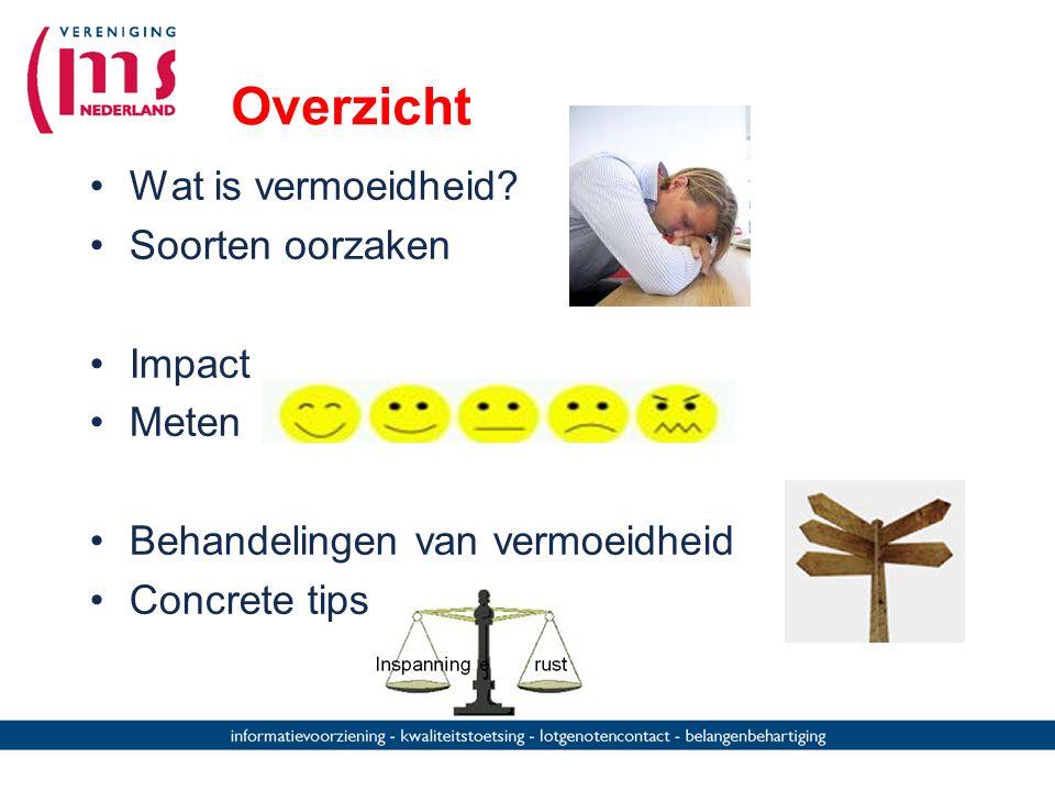 Overzicht Wat is vermoeidheid? Soorten oorzaken Impact Meten Behandelingen van vermoeidheid Concrete tips