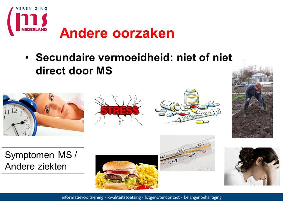 Andere oorzaken Secundaire vermoeidheid: niet of niet direct door MS Symptomen MS / Andere ziekten