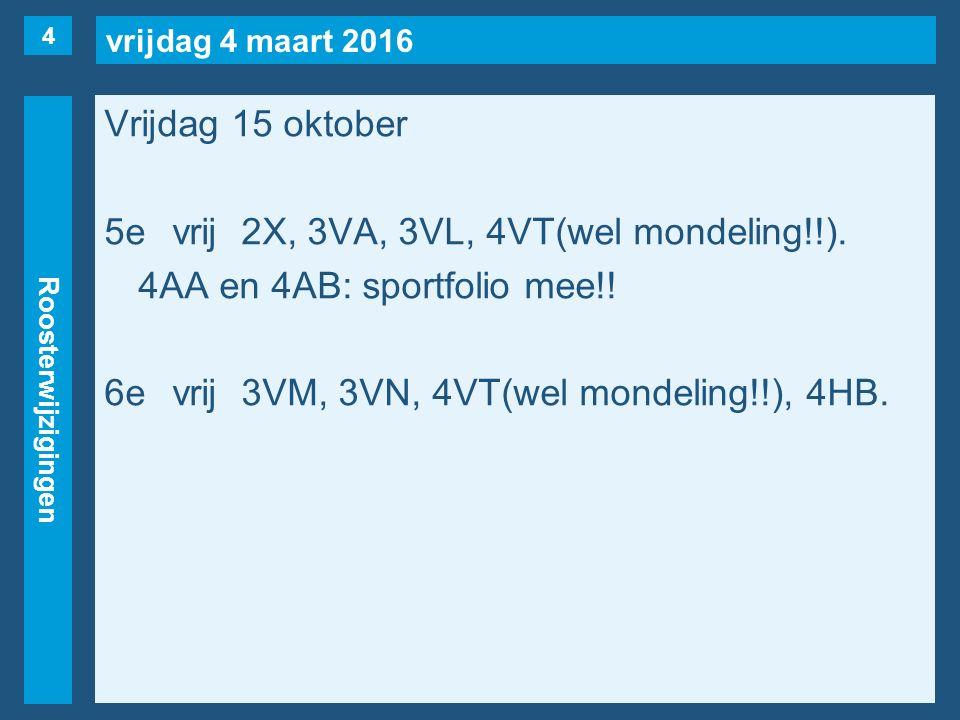 vrijdag 4 maart 2016 Roosterwijzigingen Vrijdag 15 oktober 5evrij2X, 3VA, 3VL, 4VT(wel mondeling!!).