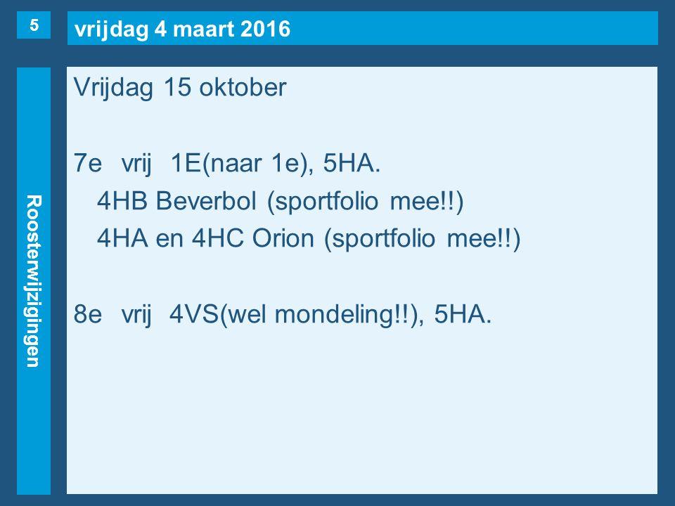 vrijdag 4 maart 2016 Roosterwijzigingen Vrijdag 15 oktober 7evrij1E(naar 1e), 5HA.