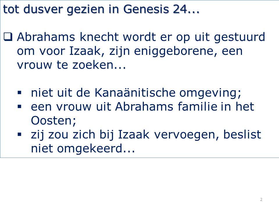 Genesis 24 66 En de knecht vertelde Isaak alles wat hij gedaan had. 33