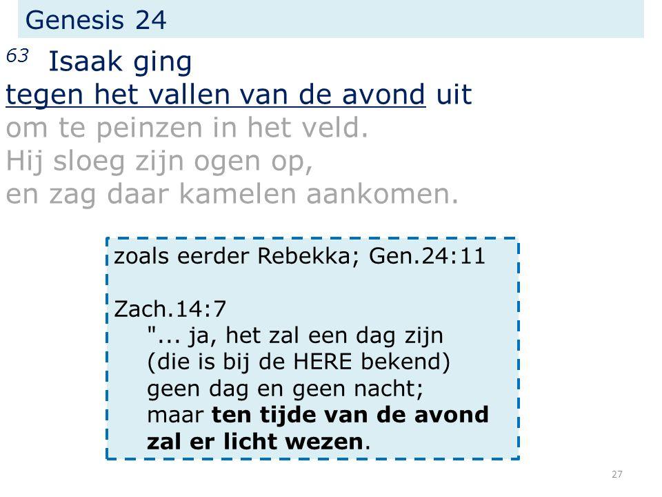Genesis 24 63 Isaak ging tegen het vallen van de avond uit om te peinzen in het veld.