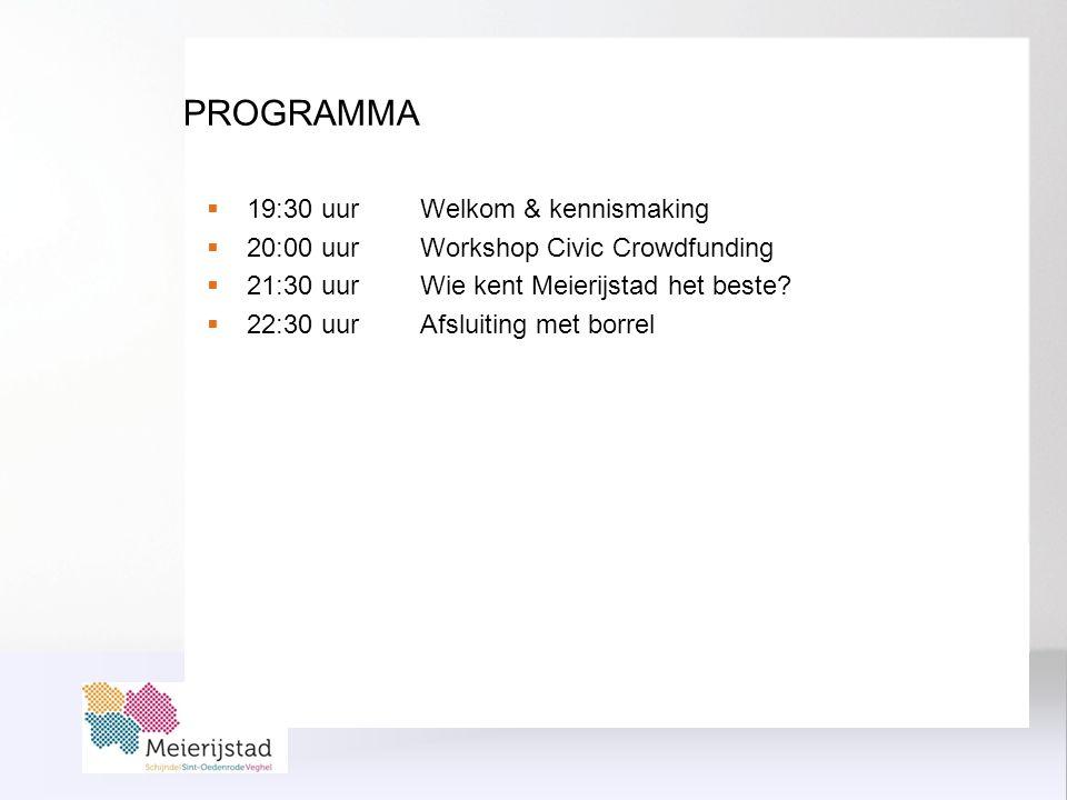PROGRAMMA  19:30 uur Welkom & kennismaking  20:00 uur Workshop Civic Crowdfunding  21:30 uur Wie kent Meierijstad het beste.