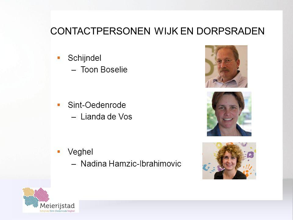 CONTACTPERSONEN WIJK EN DORPSRADEN  Schijndel –Toon Boselie  Sint-Oedenrode –Lianda de Vos  Veghel –Nadina Hamzic-Ibrahimovic