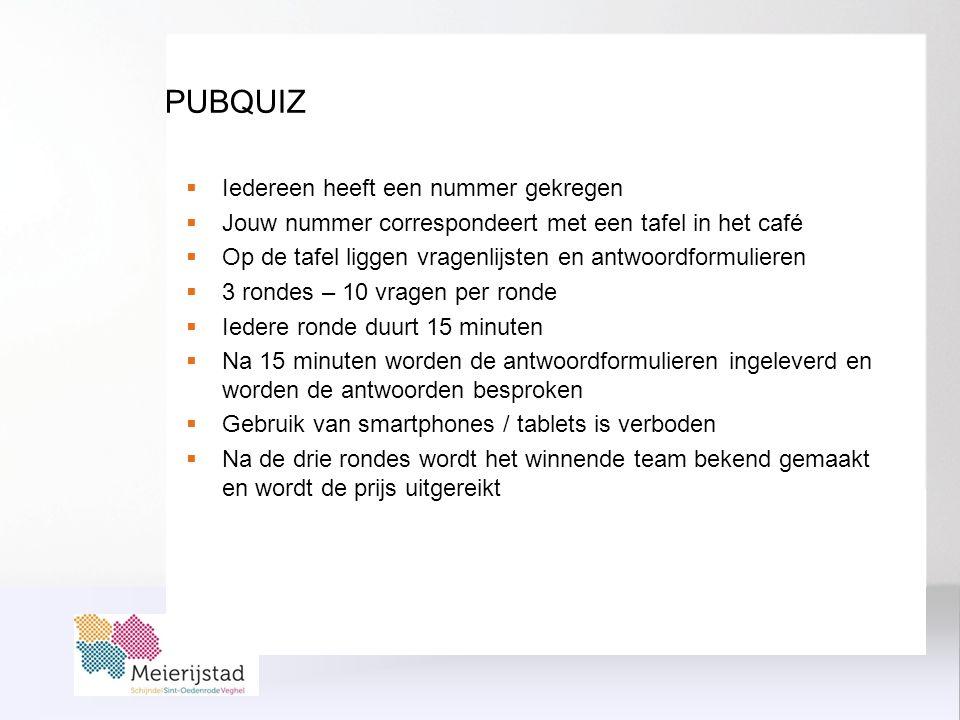 PUBQUIZ  Iedereen heeft een nummer gekregen  Jouw nummer correspondeert met een tafel in het café  Op de tafel liggen vragenlijsten en antwoordformulieren  3 rondes – 10 vragen per ronde  Iedere ronde duurt 15 minuten  Na 15 minuten worden de antwoordformulieren ingeleverd en worden de antwoorden besproken  Gebruik van smartphones / tablets is verboden  Na de drie rondes wordt het winnende team bekend gemaakt en wordt de prijs uitgereikt