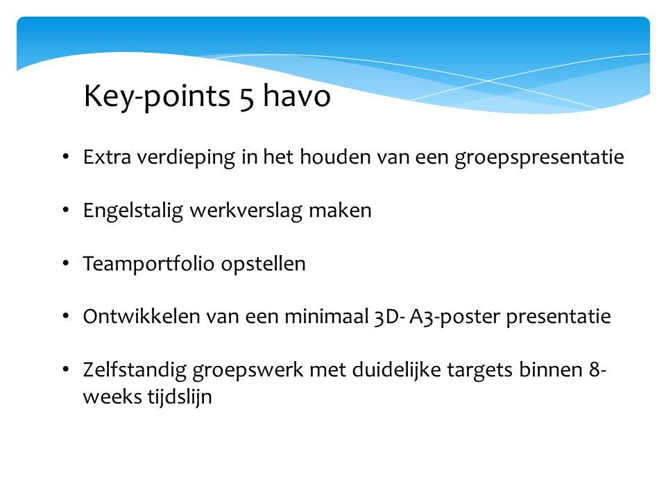 Key-points 5 havo Extra verdieping in het houden van een groepspresentatie Engelstalig werkverslag maken Teamportfolio opstellen Ontwikkelen van een minimaal 3D- A3-poster presentatie Zelfstandig groepswerk met duidelijke targets binnen 8- weeks tijdslijn