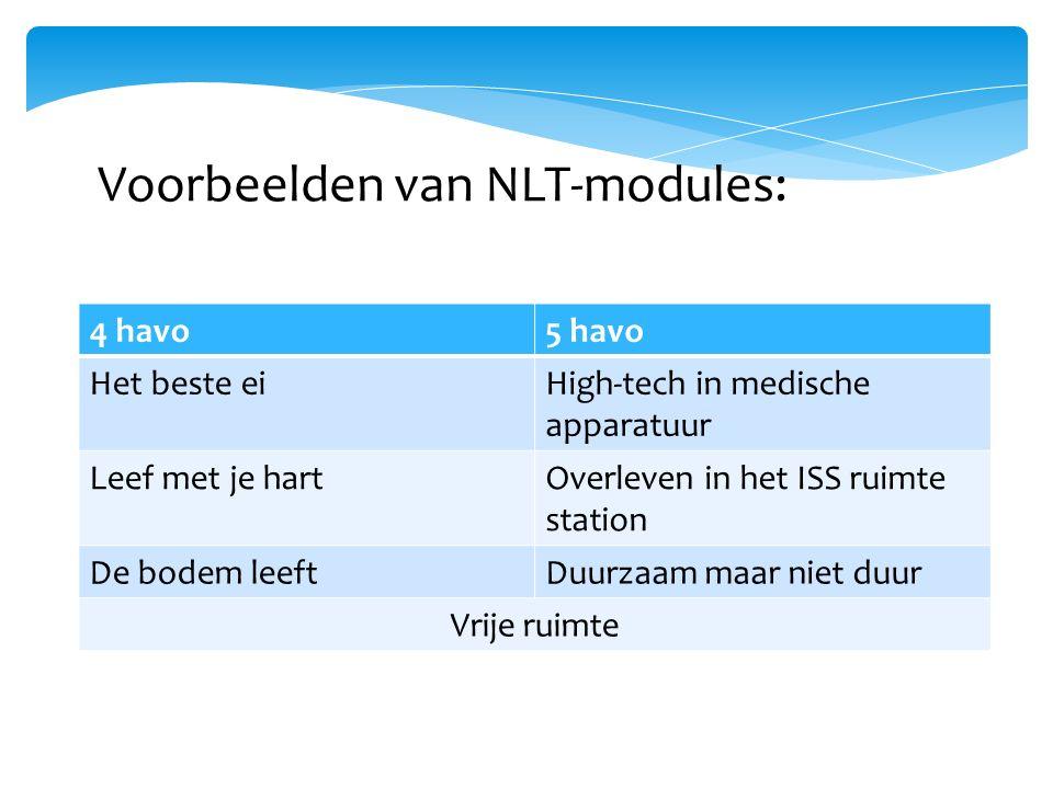 Voorbeelden van NLT-modules: 4 havo5 havo Het beste eiHigh-tech in medische apparatuur Leef met je hartOverleven in het ISS ruimte station De bodem leeftDuurzaam maar niet duur Vrije ruimte