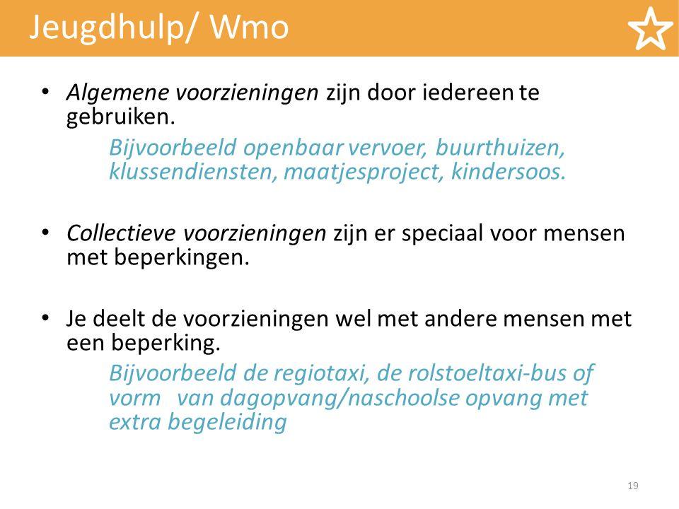 Jeugdhulp/ Wmo Algemene voorzieningen zijn door iedereen te gebruiken. Bijvoorbeeld openbaar vervoer, buurthuizen, klussendiensten, maatjesproject, ki