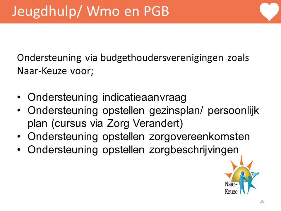 Jeugdhulp/ Wmo en PGB Ondersteuning via budgethoudersverenigingen zoals Naar-Keuze voor; Ondersteuning indicatieaanvraag Ondersteuning opstellen gezin
