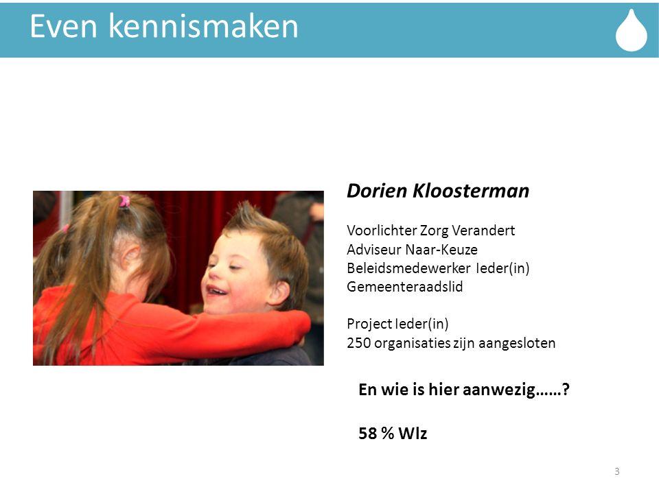 Even kennismaken Dorien Kloosterman Voorlichter Zorg Verandert Adviseur Naar-Keuze Beleidsmedewerker Ieder(in) Gemeenteraadslid Project Ieder(in) 250