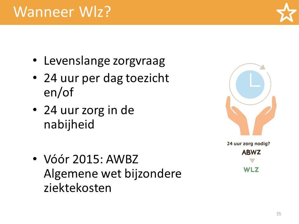Wanneer Wlz? 35 Levenslange zorgvraag 24 uur per dag toezicht en/of 24 uur zorg in de nabijheid Vóór 2015: AWBZ Algemene wet bijzondere ziektekosten