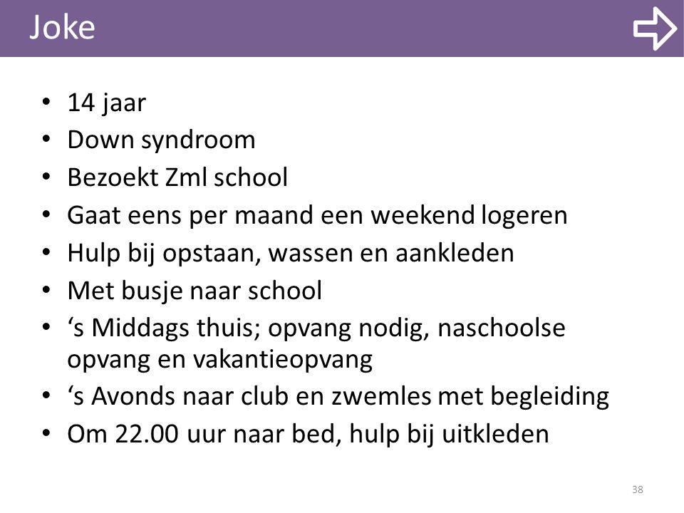 Joke 14 jaar Down syndroom Bezoekt Zml school Gaat eens per maand een weekend logeren Hulp bij opstaan, wassen en aankleden Met busje naar school 's M