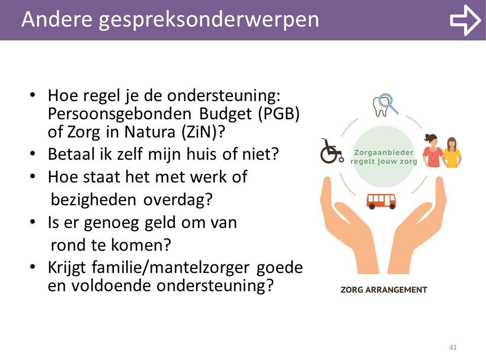 Andere gespreksonderwerpen 41 Hoe regel je de ondersteuning: Persoonsgebonden Budget (PGB) of Zorg in Natura (ZiN)? Betaal ik zelf mijn huis of niet?
