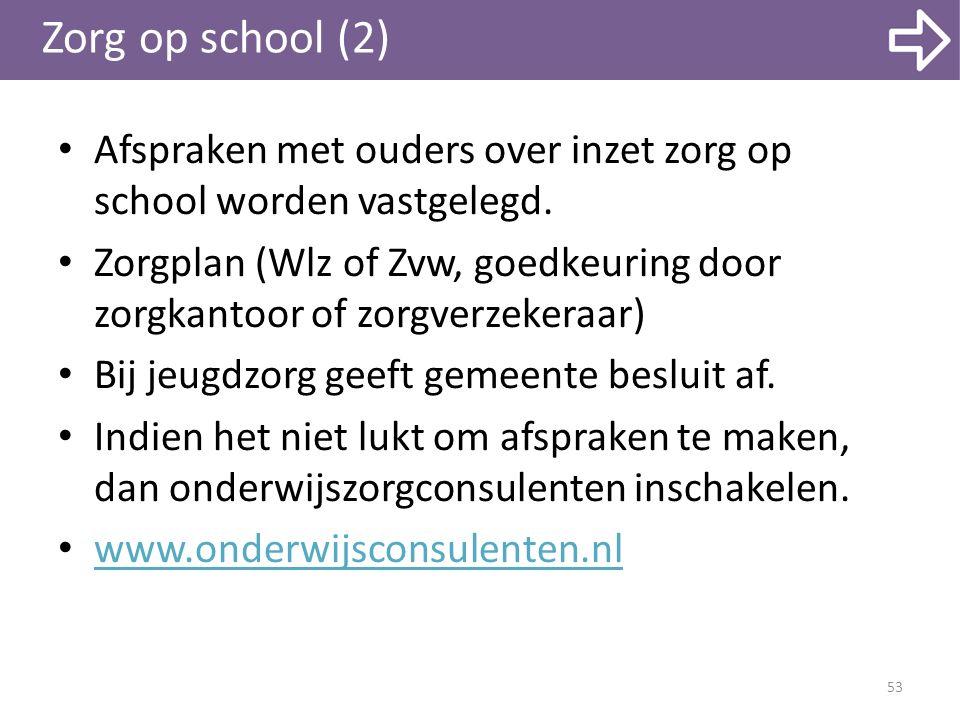 Zorg op school (2) Afspraken met ouders over inzet zorg op school worden vastgelegd. Zorgplan (Wlz of Zvw, goedkeuring door zorgkantoor of zorgverzeke