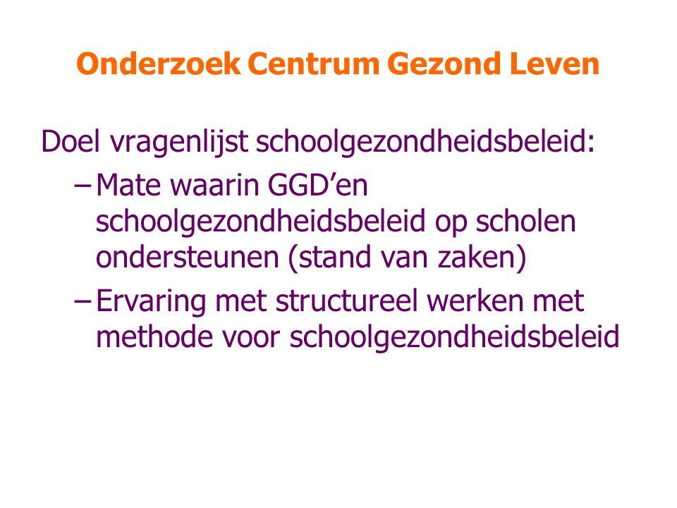 Onderzoek Centrum Gezond Leven Doel vragenlijst schoolgezondheidsbeleid: –Mate waarin GGD'en schoolgezondheidsbeleid op scholen ondersteunen (stand va