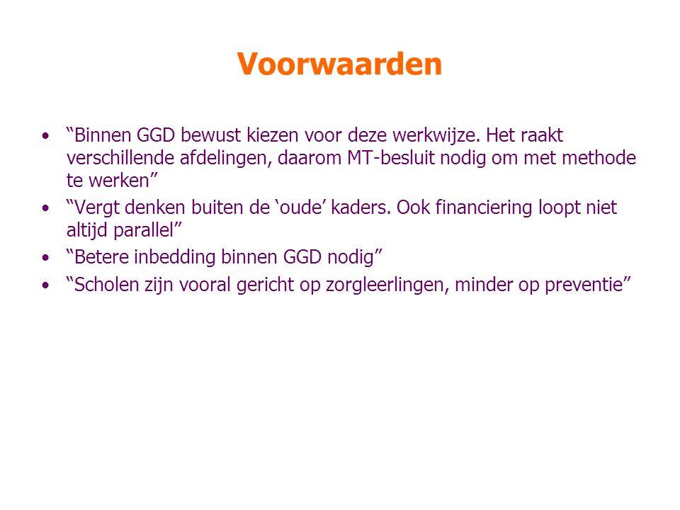 Voorwaarden Binnen GGD bewust kiezen voor deze werkwijze.