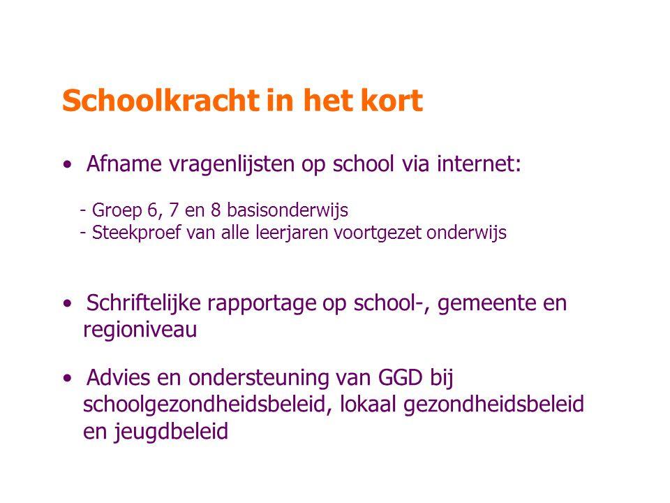 Schoolkracht in het kort Afname vragenlijsten op school via internet: - Groep 6, 7 en 8 basisonderwijs - Steekproef van alle leerjaren voortgezet onde