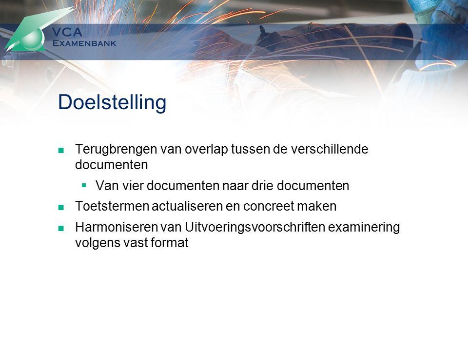 Doelstelling Terugbrengen van overlap tussen de verschillende documenten  Van vier documenten naar drie documenten Toetstermen actualiseren en concreet maken Harmoniseren van Uitvoeringsvoorschriften examinering volgens vast format