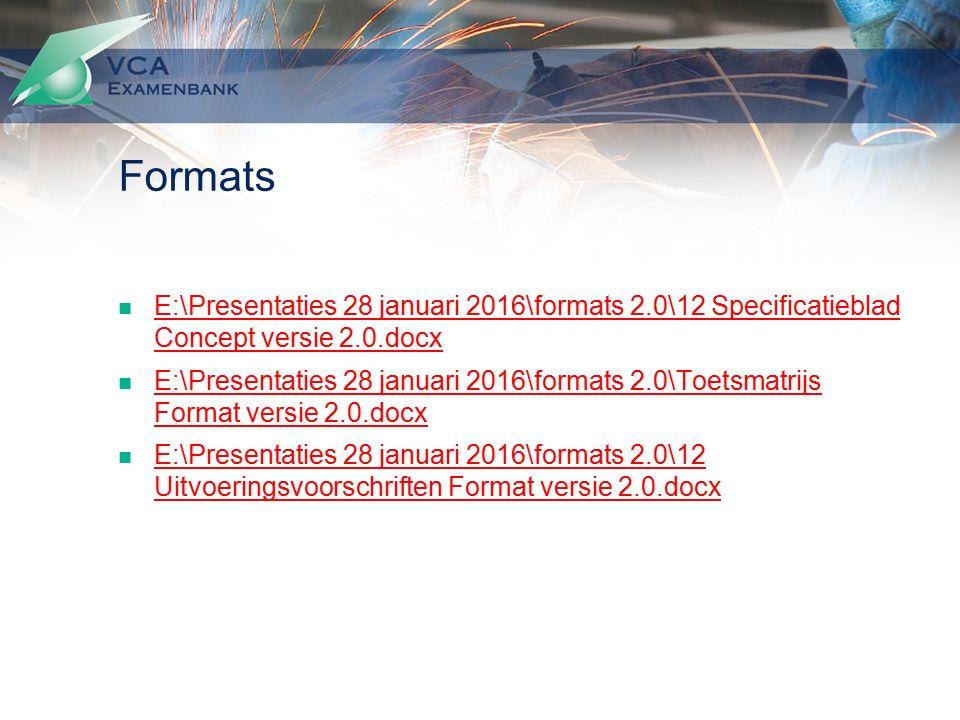 Formats E:\Presentaties 28 januari 2016\formats 2.0\12 Specificatieblad Concept versie 2.0.docx E:\Presentaties 28 januari 2016\formats 2.0\12 Specificatieblad Concept versie 2.0.docx E:\Presentaties 28 januari 2016\formats 2.0\Toetsmatrijs Format versie 2.0.docx E:\Presentaties 28 januari 2016\formats 2.0\Toetsmatrijs Format versie 2.0.docx E:\Presentaties 28 januari 2016\formats 2.0\12 Uitvoeringsvoorschriften Format versie 2.0.docx E:\Presentaties 28 januari 2016\formats 2.0\12 Uitvoeringsvoorschriften Format versie 2.0.docx
