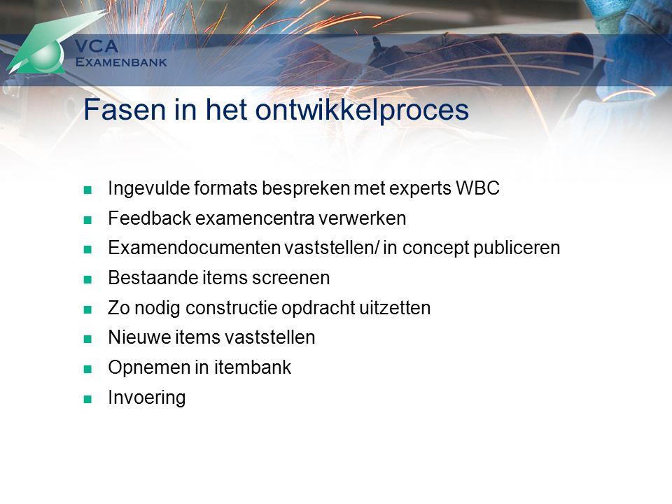 Fasen in het ontwikkelproces Ingevulde formats bespreken met experts WBC Feedback examencentra verwerken Examendocumenten vaststellen/ in concept publ