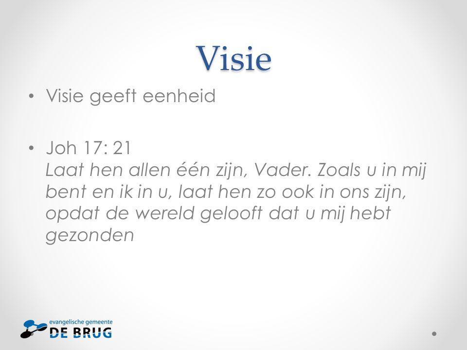 Visie Visie geeft eenheid Joh 17: 21 Laat hen allen één zijn, Vader. Zoals u in mij bent en ik in u, laat hen zo ook in ons zijn, opdat de wereld gelo