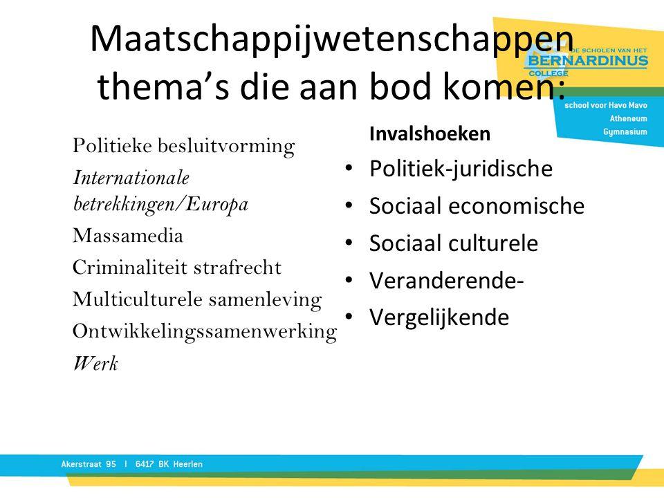 Maatschappijwetenschappen thema's die aan bod komen: Politieke besluitvorming Internationale betrekkingen/Europa Massamedia Criminaliteit strafrecht M