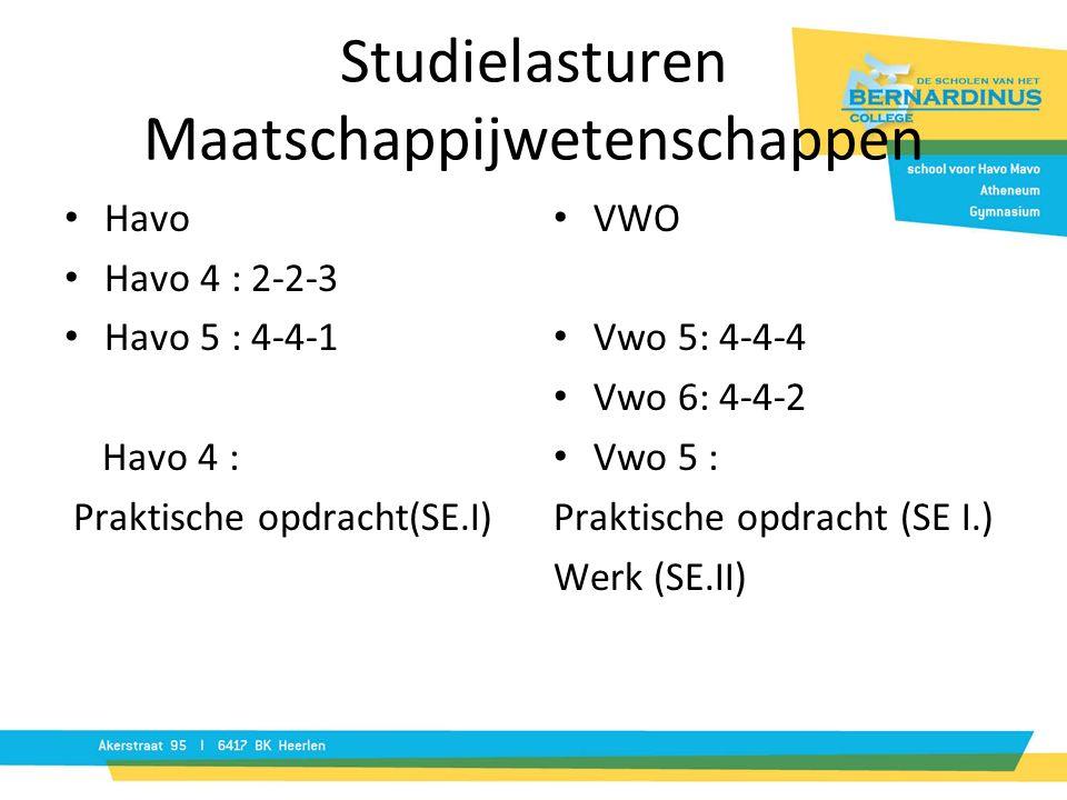 Studielasturen Maatschappijwetenschappen Havo Havo 4 : 2-2-3 Havo 5 : 4-4-1 Havo 4 : Praktische opdracht(SE.I) VWO Vwo 5: 4-4-4 Vwo 6: 4-4-2 Vwo 5 : Praktische opdracht (SE I.) Werk (SE.II)