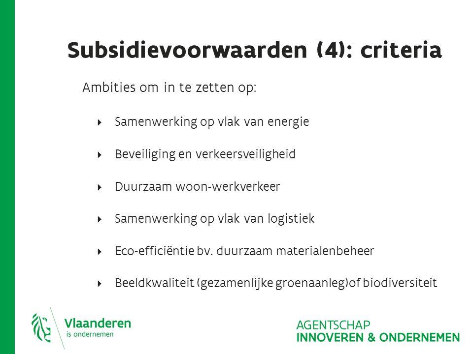 Subsidievoorwaarden: ambitieniveaus