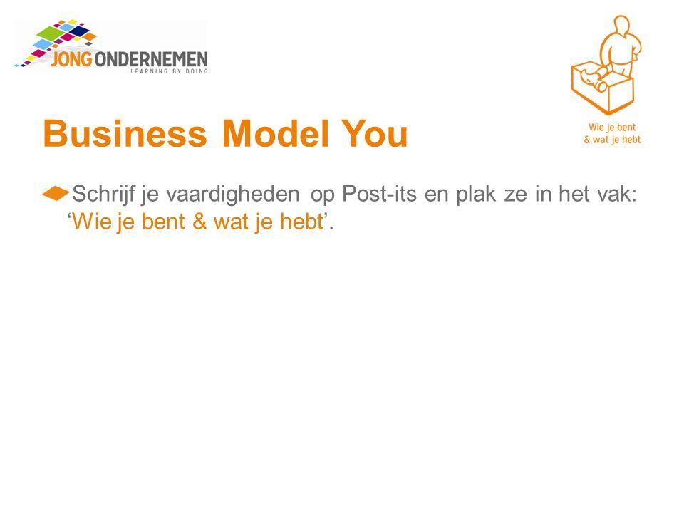 Business Model You Schrijf je vaardigheden op Post-its en plak ze in het vak: 'Wie je bent & wat je hebt'.