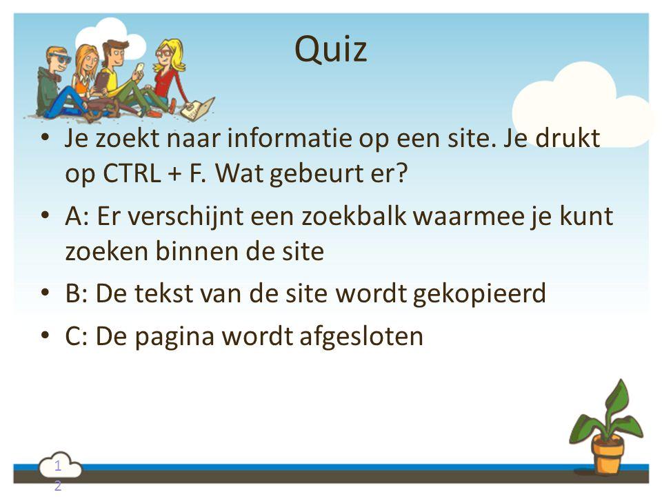 1212 Quiz Je zoekt naar informatie op een site. Je drukt op CTRL + F. Wat gebeurt er? A: Er verschijnt een zoekbalk waarmee je kunt zoeken binnen de s