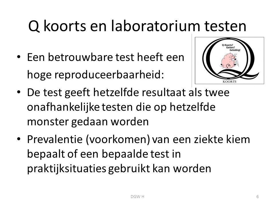 Q koorts en laboratorium testen Een betrouwbare test heeft een hoge reproduceerbaarheid: De test geeft hetzelfde resultaat als twee onafhankelijke testen die op hetzelfde monster gedaan worden Prevalentie (voorkomen) van een ziekte kiem bepaalt of een bepaalde test in praktijksituaties gebruikt kan worden 6DGW H