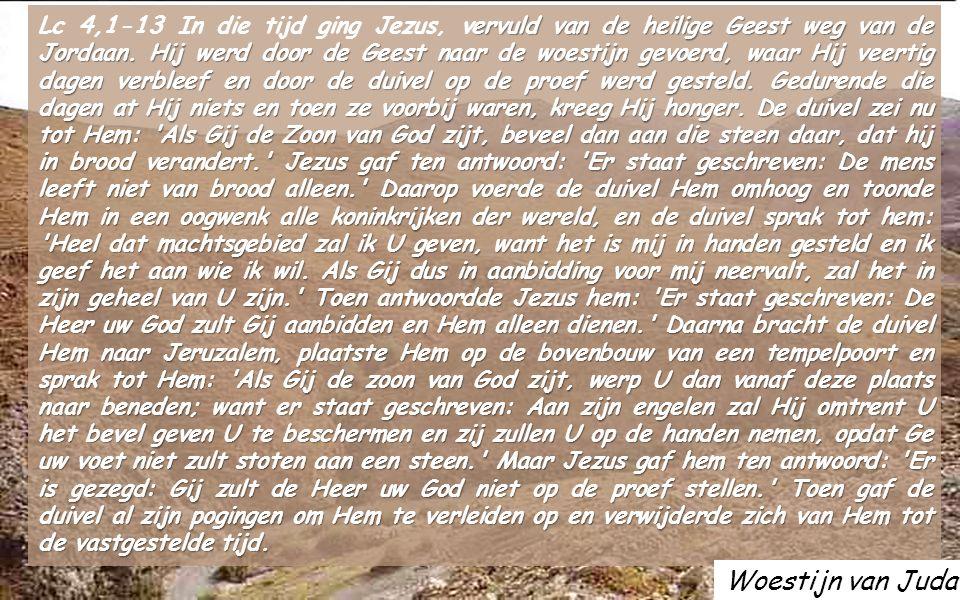 ACCLAMATIE Mt 4,4b Niet van brood alleen leeft de mens, maar van ieder woord dat uit de mond van God voortkomt Doortocht van de Jordaan om het Beloofde Land binnen te komen