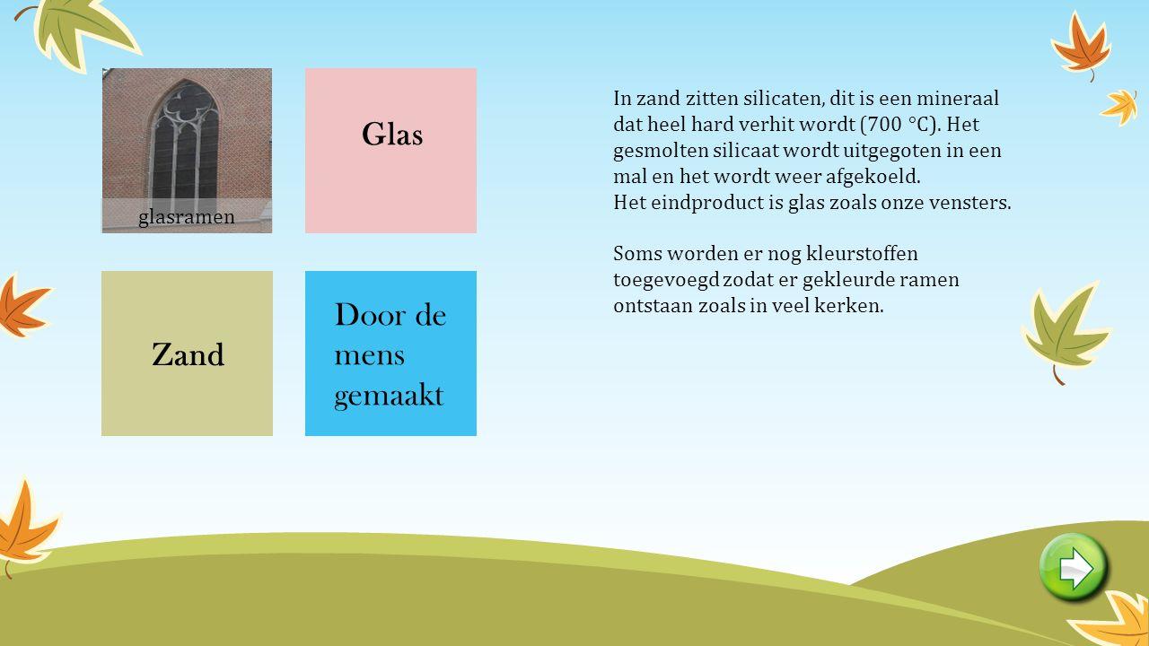Glas Zand Door de mens gemaakt In zand zitten silicaten, dit is een mineraal dat heel hard verhit wordt (700 °C).
