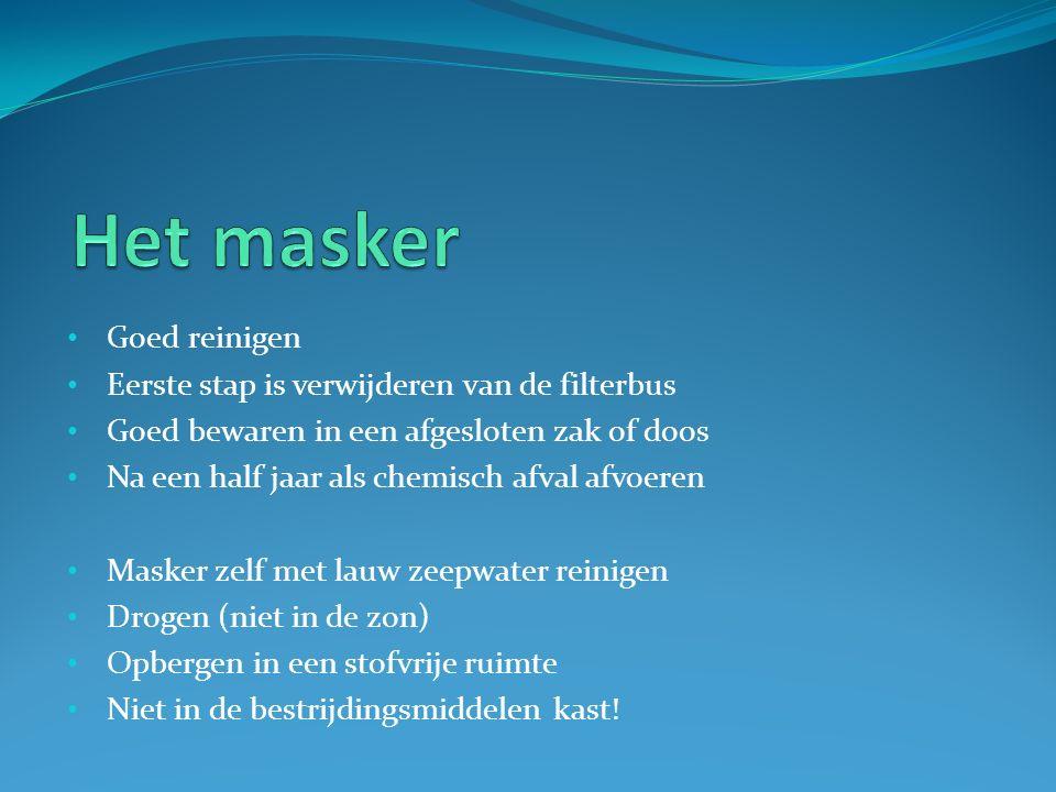 Goed reinigen Eerste stap is verwijderen van de filterbus Goed bewaren in een afgesloten zak of doos Na een half jaar als chemisch afval afvoeren Mask