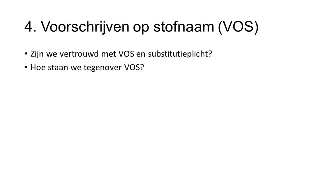 4. Voorschrijven op stofnaam (VOS) Zijn we vertrouwd met VOS en substitutieplicht.