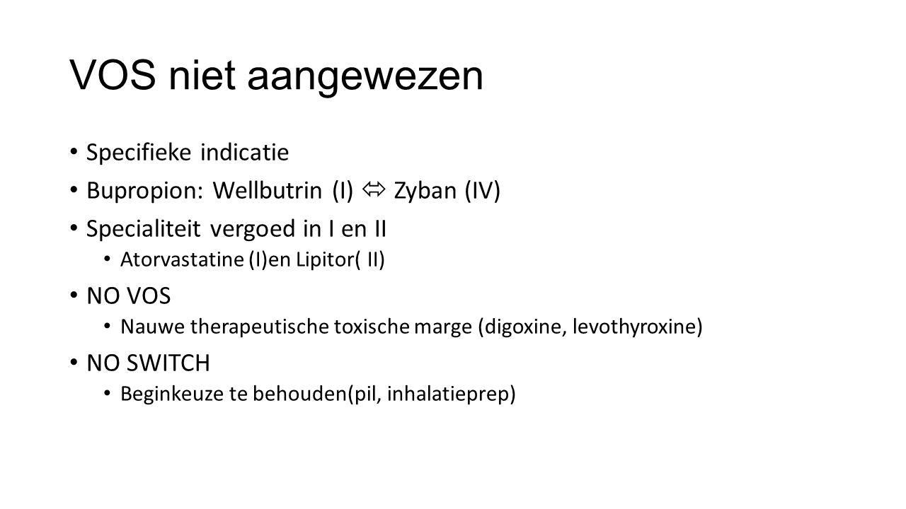 VOS niet aangewezen Specifieke indicatie Bupropion: Wellbutrin (I)  Zyban (IV) Specialiteit vergoed in I en II Atorvastatine (I)en Lipitor( II) NO VOS Nauwe therapeutische toxische marge (digoxine, levothyroxine) NO SWITCH Beginkeuze te behouden(pil, inhalatieprep)