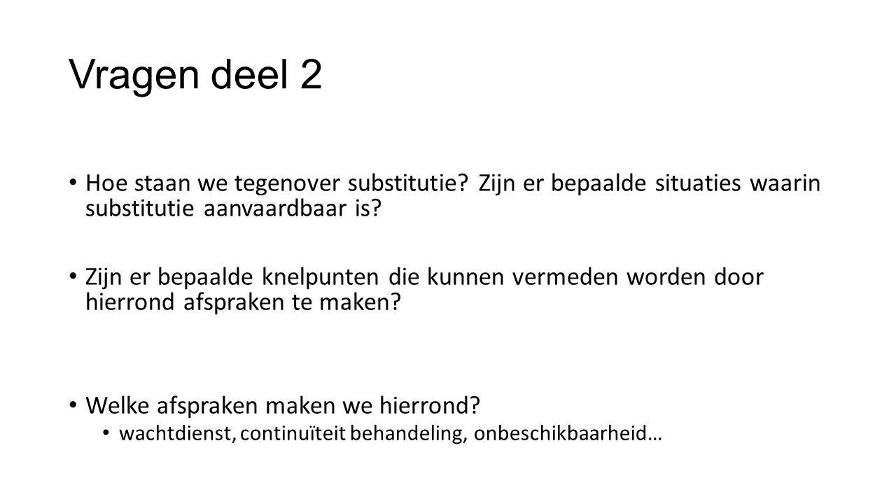 Vragen deel 2 Hoe staan we tegenover substitutie.